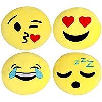 Kompanion Coussin Emoji 4 Pièces 30CM/12 Inches, Emoticône Oreillers Smiley Decoratif Ronde Jaune- Peluche Souple Et Doux-Coussin De Canapé de Siege -Emotionnels Endormi, Baiser Souriant Riant