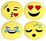 Kompanion Emoji Kissen 4 Stück Set, 30 cm/12 Zoll Gelbe Runde dick, Plüsch und weiche Emoticon Kissen