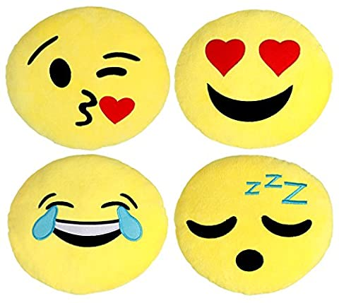 Large Emoji Pillows 4 Piece Set, 30CM / 12 Inches Yellow Round Thick, Plush and Soft Emoticon