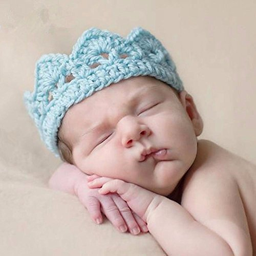 DecuT Baby Beautiful Crown Knited Designer Headwear (Ice Blue)