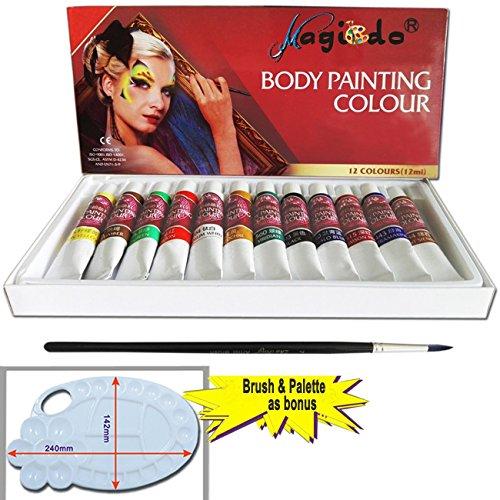 Magicdo 12 Farben Gesicht und Körper Farbe Set in 12x12ml, 1 Palette, 1 Pinsel , Art Make-up Set Kit, reichhaltige Pigment, Natur Wasser-basierte Non-Toxic, Great Make-up Lack Kit für Kinder-Party