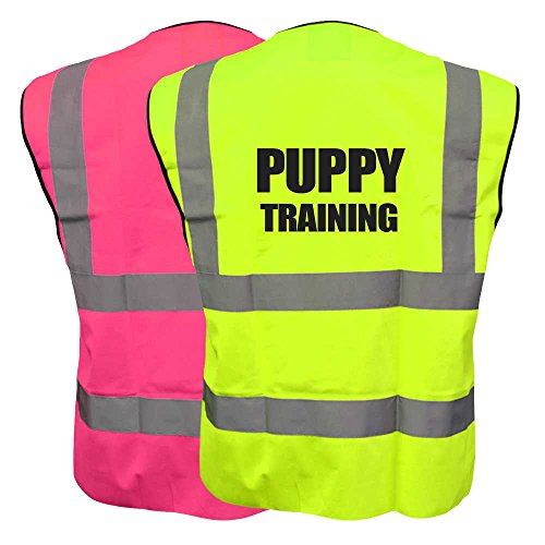 Hi Vis Puppy Training Pink and Yellow Vest Waistcoat Safety Reflective Canine Jacket Plus a Brook Hi Vis UK Discount Code for your next order
