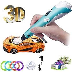 Bolígrafo 3D para niños con impresión 3D de 1,75 mm PLA con filamento ABS de 13 m (512 pulgadas), lápiz de dibujo 3D para niños con pantalla LED, baja temperatura