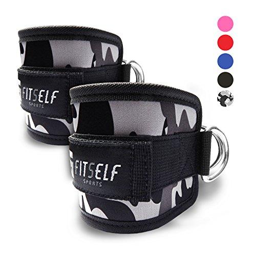 Fußschlaufen (gepolstert) von FitSelf Sports (2Stück) - für Fitnesstraining am Seilzug - für Männer und Frauen - 2 Jahre Gewährleistung (camo/grau)
