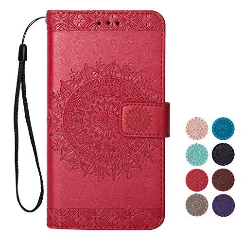Rose-Otter Kompatibel für Samsung Galaxy S5 Hülle Leder Handyhülle Flip Case Kartenfach Klappbar Stoßfest Bumper Schutzhülle Tasche mit Muster Mandala Blume Rot (Otter S5 Case Galaxy Für Samsung)