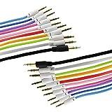 InnoLife, set completo di cavi audio ausiliari da 91,4 cm in 10colori, cavi audio stereo piatti per musica e registrazione maschio a maschio m/m da 3,5mm (totale 10 pezzi colori misti)