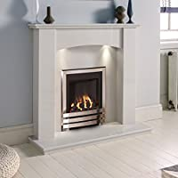 White Marble Stone Surround Gas Fireplace Suite Chrome High Efficiency Inset Gas Fire with Downlights