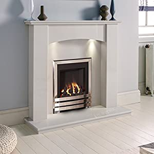 White Marble Stone Surround Gas Fireplace Suite Chrome Inset Gas Fire with Downlights