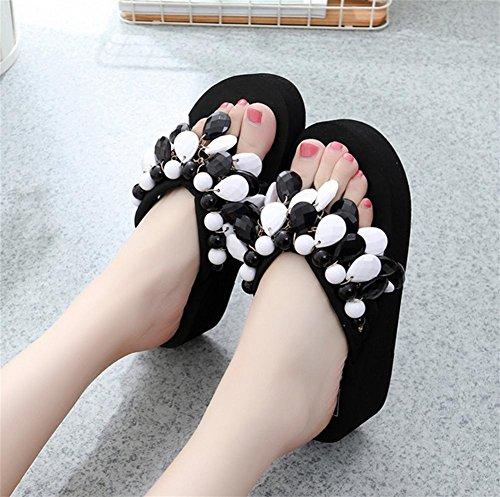 Kreative handgefertigte Perlen Strand Schuhe Damen Sommer Piste mit Fischgrät-Drag-and-Drop Verdickung einzigen coole Pantoffeln 3
