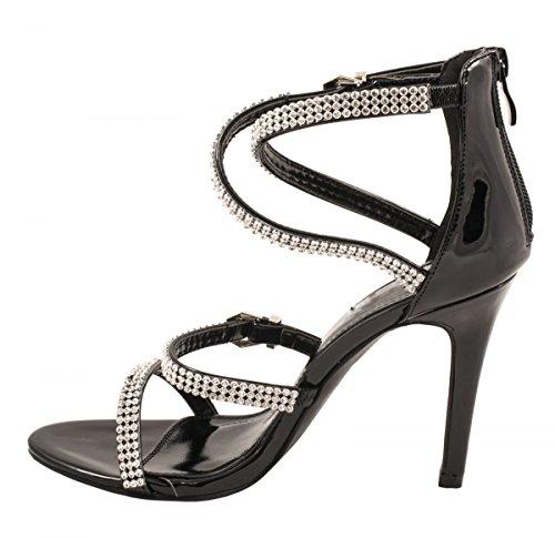 Femmes sandales soirée talons hauts talons Chaussures Schwarz Glitzer