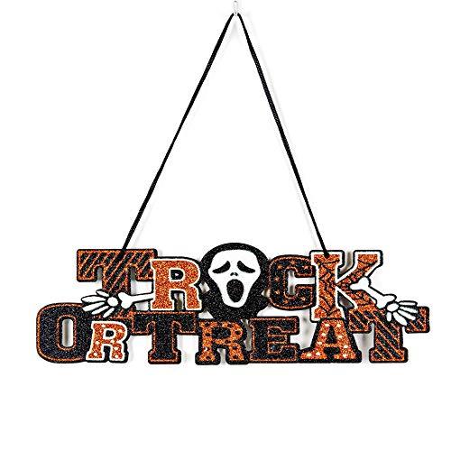 Soochat Trick or Treat Schild, Halloweenschilder, Halloween, zum Aufhängen von Tür- und Wandschildern, Dekorationen