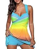 Damen Tankini Badeanzug mit Röckchen Badekleid mit Shorts Bademode Große Größen Swimsuit Himmelblau 5XL