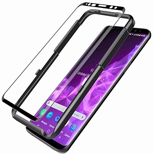 L K für Samsung Galaxy S9 Plus Schutzfolie Panzerglas [9H Härte] [3D Abgerundete] [Vollständige Abdeckung] [Ausrichtungsrahmen Einfache Installation] Gehärtetem Glas Displayschutzfolie - Schwarz