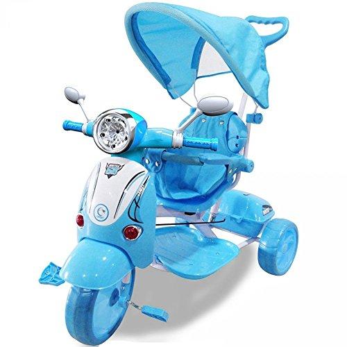 BAKAJI Triciclo Passeggino Scooter Vespina a Pedali a Spinta con Protezioni di Sicurezza per Bambini Manico Direzionabile Cappottina Tettuccio Parasole Luci Suoni (Azzurro)