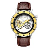 AFFUTE Automatik Tourbillon Uhren Herren Klassisches Skelett Lederband Selbstaufzug Analog mechanische Armbanduhr