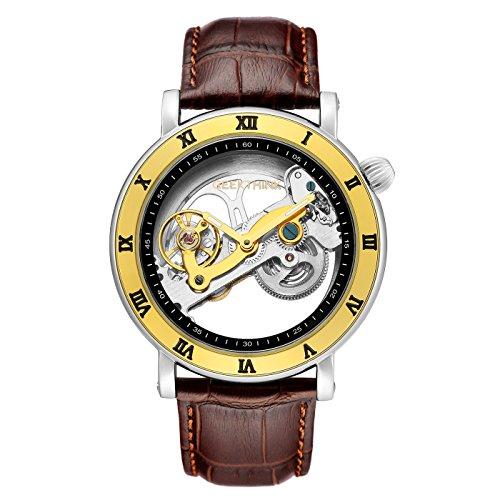 affute Automatische Tourbillon Uhren Herren Classic Skelett Lederband self-wind Analog Mechanische Armbanduhr Braun