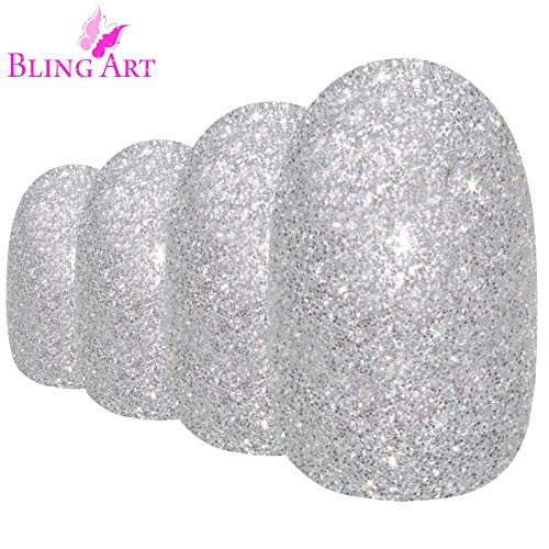 Faux Ongles Bling Art Argent Gel Ovale 24 Moyen Faux bouts d'ongles acrylique