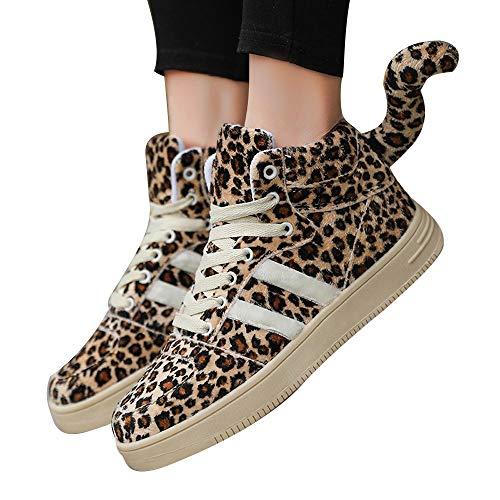 Deloito Damen Mode Leopard High-Top Lässige Schuhe Weiblich Studenten Dick-Soled Schwanz Schuhe Baumwolle Plus Samt Stiefel (Braun-B,40 ()