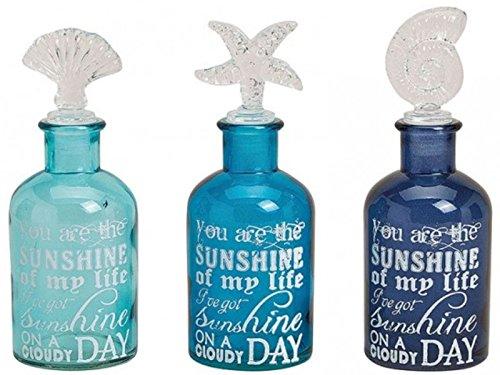 3er Set Deko-Flaschen mit Verschluss - Moderne Maritime Dekoration Glasflaschen mit Seestern, Muschel und Schnecke Verschluss