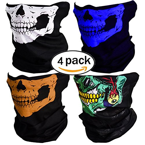 Kostüm Mann Minute (4 Stück Motorrad Totenkopf Maske Sturmmaske Skull skelett Maske Nahtlose Half Face Skull Tube Maske für)