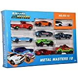 Shanbuyers Die Cast Metal Masters Colorful Cars Toy With Unique Models Design – Pack Of 10 (Multi-Color) (Styles / Color May Vary)