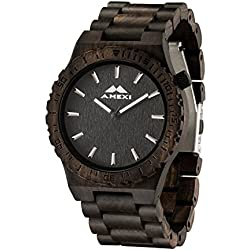 Amexi Mens Wooden Watches Wood Watch Black Sandalwood Miyota Quartz Watch for Men Wrist Glowing Hands