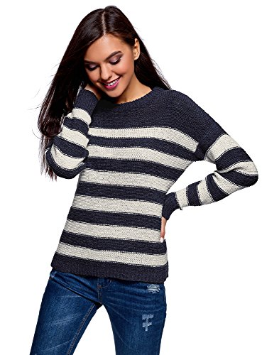 oodji Ultra Femme Pull Coupe Ample Col Rond, Bleu, FR 44 / XL