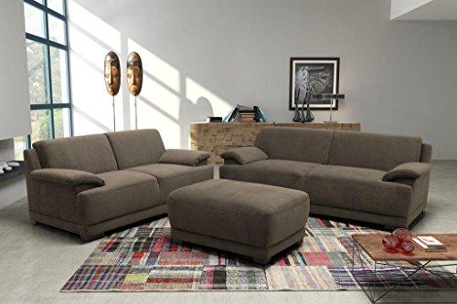 ALESSANDRIA Boxspringsofa Couchgarnitur Set Garnitur Sofa Couch Microfaser Braun -