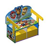 Paw Patrol Wooden Kids 3 in 1 Convertible Toy Box + Bench & Table + Chair - Everest, Chase, Marshall, Skye, Rocky, Zuma