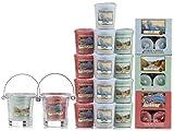 Offizielles Yankee Candle Kerzen-Geschenk-Set mit Votivkerzen, Teelichtern und Eimer-Kerzenhaltern, 53Stück, Düfte der Küste