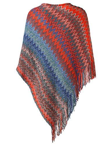 Slivexy Poncho et Cape Femme Crochet avec Capuche Pull avec Franges Rouge-sans capuche