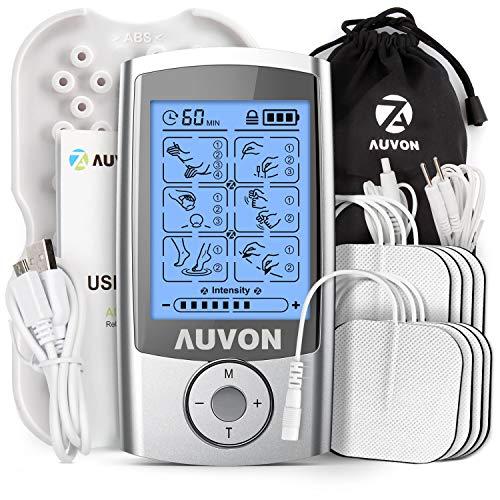 AUVON TENS Gerät, TENS EMS Reizstromgerät mit 16 Trainigsprogramme und 8 Stück Premium Elektroden Pads zur Schmerzlinderung von Knicken am Rücken, Nacken, Schultern
