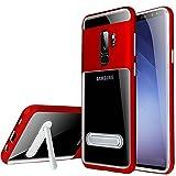 watache Slim Hybrid Transparent pc Rückseite + Soft TPU Innen stoßfest Cover mit magnetischem Ständer für Smartphone ¡, Galaxy S9, Galaxy S9(Red)