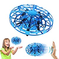 Joy-Jam Toys for 3-8 Year Old Boys Flying Ball Mini Drone for Children Air Magic Hogs Hand Controlled UFO Flying Toys Remote Control Helicopter Outdoor & Indoor Games for Kids with LED Lights Blue