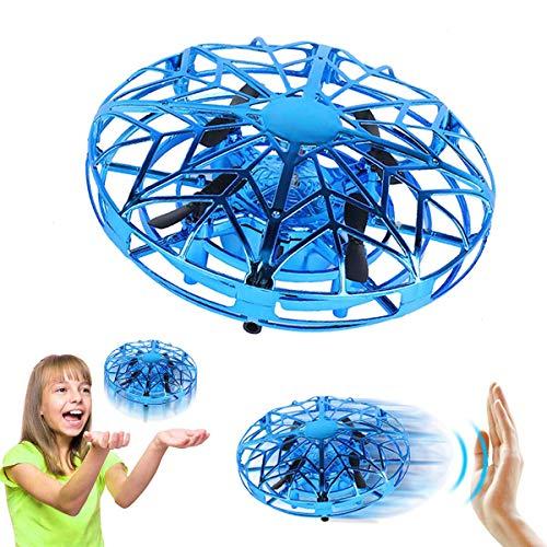 Cadeaux pour Garçons 3-8 Ans Joy-Jam Balle Volante Mini Drones pour Enfants Mini UFO Hélicoptère Télécommandé Jouet Volant Jeux pour Enfants Lumière LED Bleu