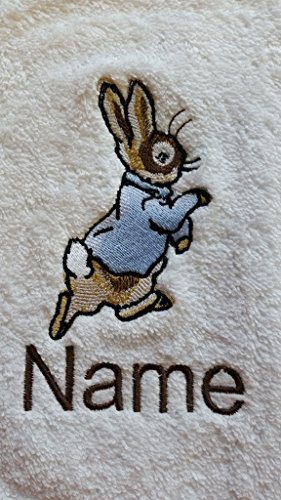 Hand Towel, Bath Towel or Bath Sheet Personalised with a PETER RABBIT logo and name of your choice