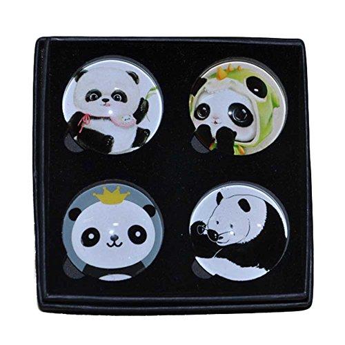 Preisvergleich Produktbild 4 Stücke Niedliches Panda Magnetisches Aufkleber-Glas Kühlschrankmagnete Kristallmagnet