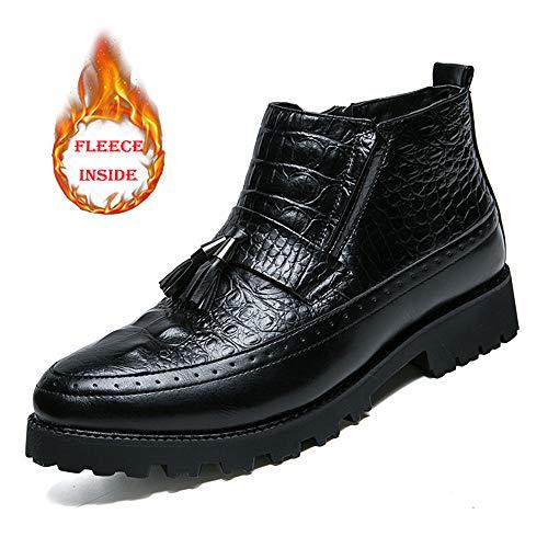 Apragaz Herren Klassische Stiefeletten Casual Chic Elegante Nähte Komfortable Klassische Fransen Formelle Schuhe (Warm Optional) (Color : Warm Black, Größe : 42 EU)