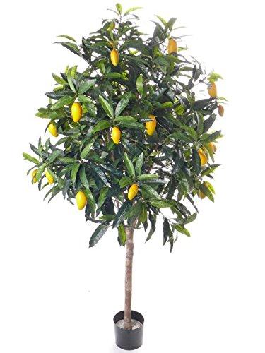 artplants Set 2 x Künstlicher Mangobaum Moko, 27 gelbe Früchte, Deluxe, 210 cm – Kunstbaum/Dekobaum
