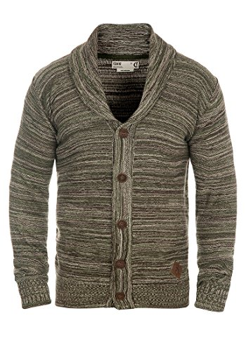 SOLID Mervin Herren Strickjacke Cardigan Grobstrick mit Schalkragen aus 100% Baumwolle Meliert Duffel Bag Green