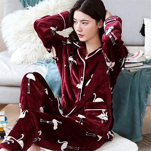 Weiche Damen Pyjamas, Dicke Bademäntel aus Korallenvlies, warme Hauskleidung für Herbst und Winter Größen A20 M -