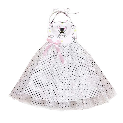 JUTOO Kinder Baby Mädchen Ostern rückenfreie Cartoon Kaninchen Tulle Princess Party Dress Clothes (Weiß,90) (Princess Party Teller Und Tassen)