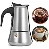 Pinkdose® 300: 4 Sizes Stainless Steel Moka Coffee Maker Mocha Espresso Latte Stovetop Filter Coffee Pot Percolator Tools Pots Coffee Tools