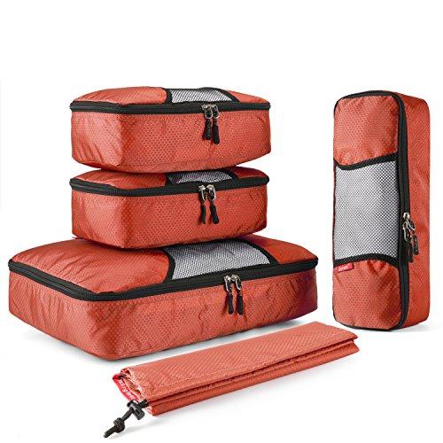 Gonex Kleidertaschen Verpackungswürfel Kofferorganizer Gepäck verschiedenes Set (L+2S+R+Beutel)Orange