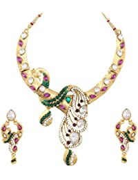Dancing Girl Bridal Peacock Purple Green Metal Alloy Jewellery Set With Necklace And Earring For Women