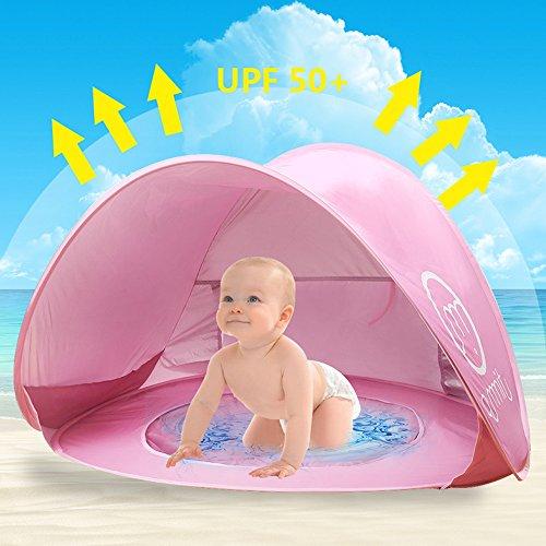 Baby Strandzelt,Oummit Pop-up Strandmuschel mit Strand Pool Automatik Strandmuschel mit Boden Sonnenschutz UV-Schutz 50+ Sehr Geeignet für Urlaub am Strand.(Rosa)