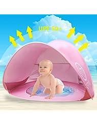 Oummit Tienda de Playa para Bebé niño Pop-up Automático de Campaña viaje plegable y Portátil con Protección sol Anti UV. (Rosa)