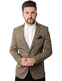 Marc Darcy Blake Tan Tonal Check Tweed Blazer