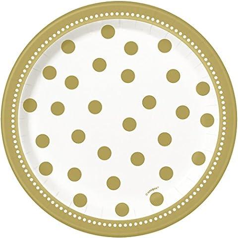 Unique Party - 49584 - Paquet de 8 Assiettes en Carton - Anniversaire Doré - 18 cm