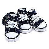 Semoss 4 Set Anti-Rutsch Haustier Schuhe Jeans Hunde Schuhe Pfotenschutz Boots Schwarz für Pfoten und Hunde,Größe:L,5.5 x 4.5 cm (L x B)